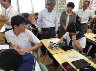 那珂川北中学校、ICT授業の視察