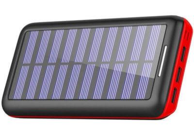 Lightning入力ポート搭載のソーラーチャージャーモバイルバッテリー