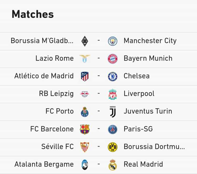 The Full Draw For The Knockout Stages Of The UEFA ...