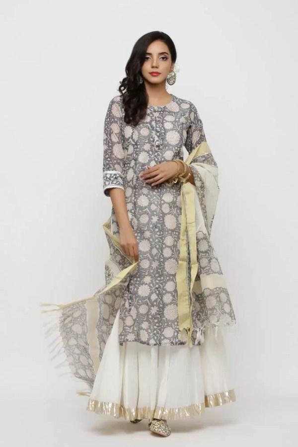 Grey chanderi printed kurta and dupatta