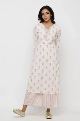 White pink printed kurta with highlighted neckline and stripe pants