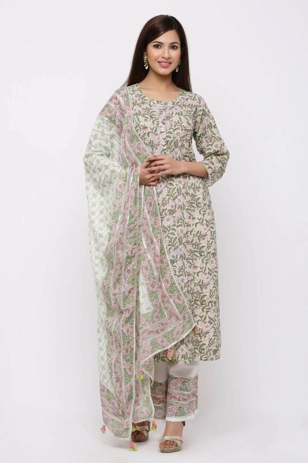 Spring motifs floral printed kurta, pant and dupatta set