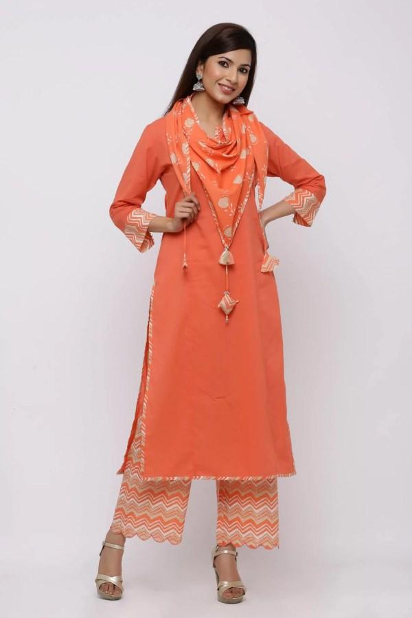 Orange straight kurta, pant  set with tasselled stole.