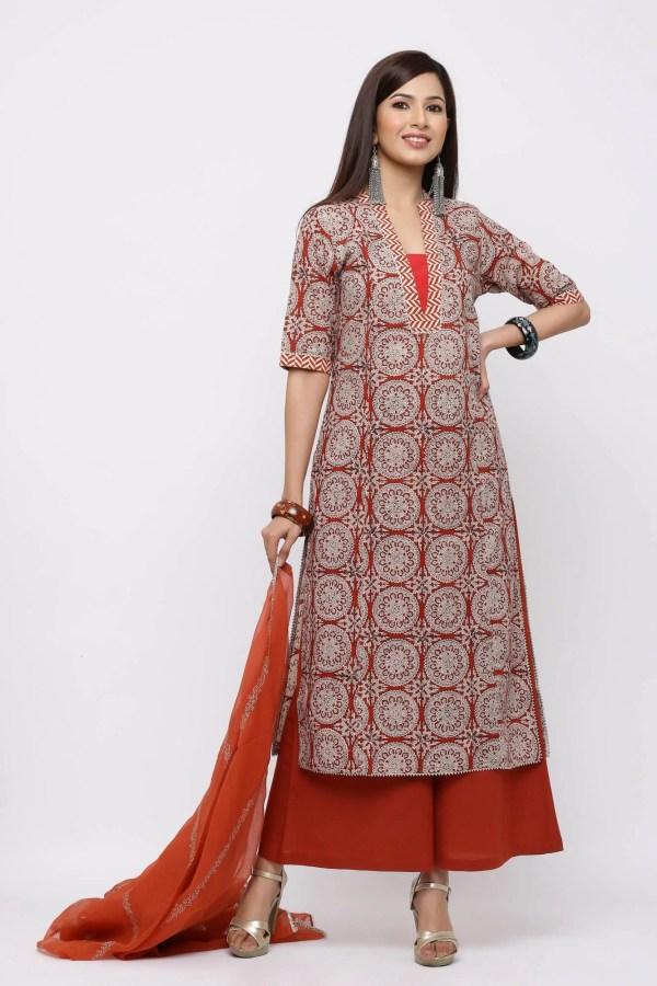 Rust traditional Jaipuri print straight kurta.