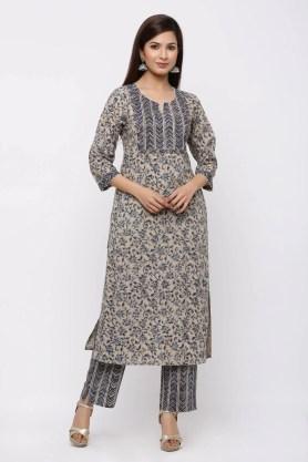 Beige and blue block printed cotton kurta set.