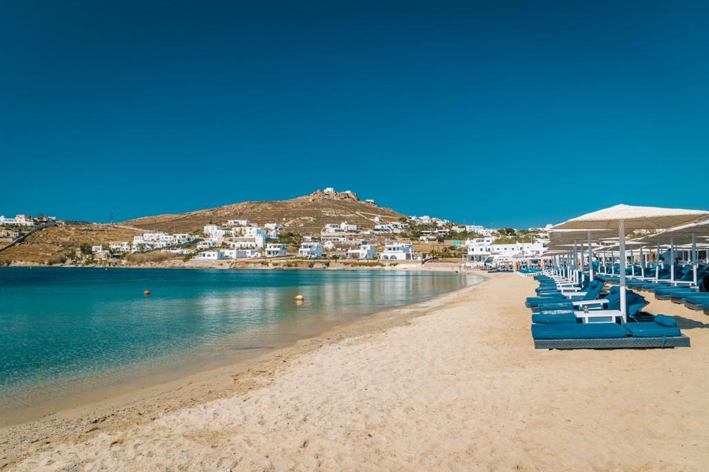 beach of Ornos Mykonos