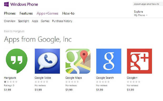 google app fake on windows phone store