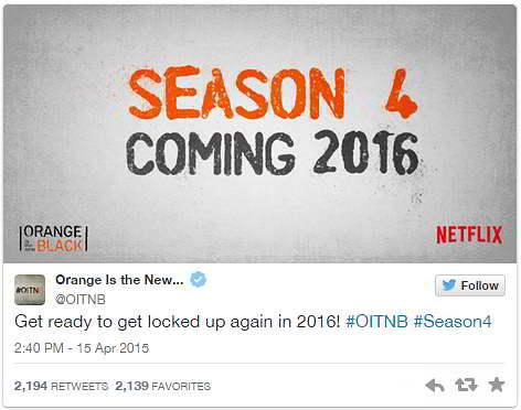 tweet orange is the new black netflix