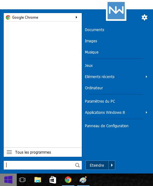 menu demarrer windows 10