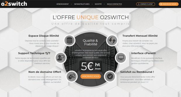 o2switch offre unique