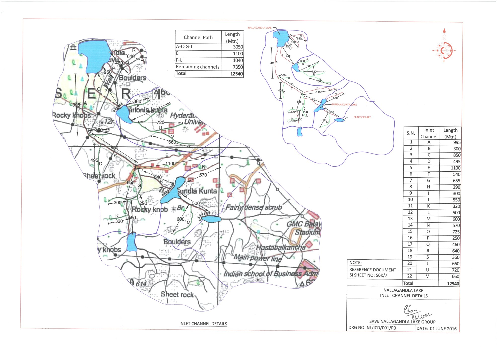 hight resolution of nallagandla lake chanel path