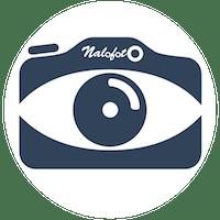 Logo nalofoto bleu blanc 200 dans un cercle blanc