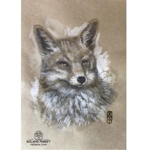 Renard d'automne - dessin original sur papier kraft par Roland Perret - série des renards