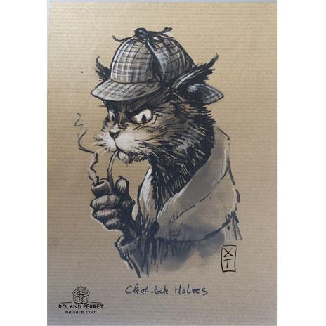 Chat - lock Holmes - Sherlock Holmes - dessin original sur papier kraft par Roland Perret - jeu du chat-llenge
