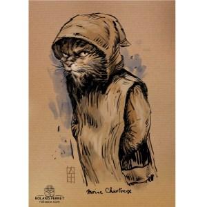 Moine - Chartreux - Chat - moine - dessin original sur papier kraft-Roland Perret - jeu du chat-llenge