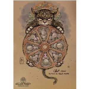 Chat - ron -charron mandala tibet - souris - dessin original sur papier kraft par Roland Perret - jeu du chat-llenge