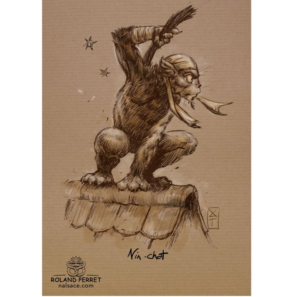 Nin - chat - Ninja - dessin original sur papier kraft par Roland Perret - jeu du chat-llenge