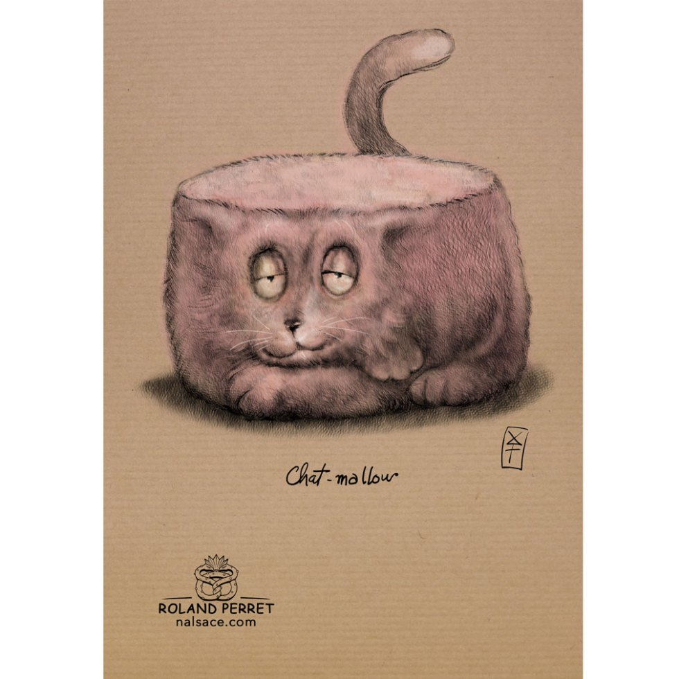 Chat-mallow - chamallow- chat- dessin original sur papier kraft-Roland Perret - jeu du chat-llenge