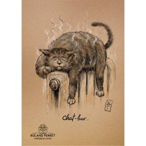 Chat-leur - dessin original sur papier kraft par Roland Perret - jeu du chat-llenge