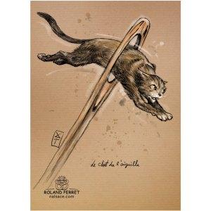 chat de-l'aiguille - chas aiguille - dessin original sur papier kraft par Roland Perret - jeu du chat-llenge