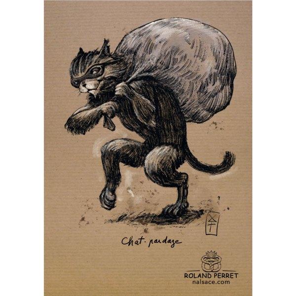 chat-pardage - chat voleur chapardeur - dessin original sur papier kraft par Roland Perret - jeu du chat-llenge