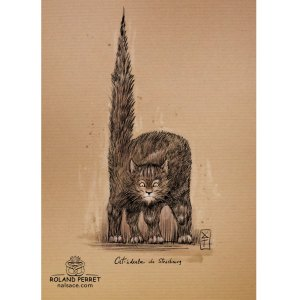 Cat-édrale de Strasbourg - cathédrale chat - dessin original sur papier kraft par Roland Perret - jeu du chat-llenge
