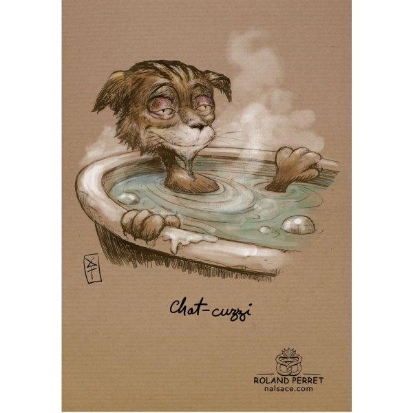 Chat-cuzzi - jacuzzi - dessin original sur papier kraft-Roland Perret - jeu du chat-llenge
