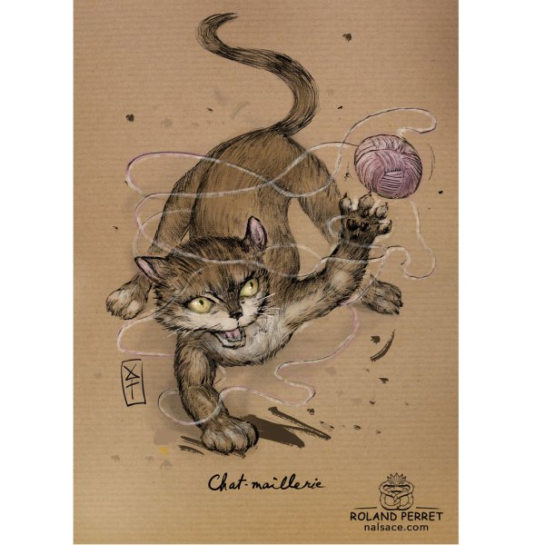 Chat-maillerie - chamaillerie- dessin original sur papier kraft par Roland Perret - jeu du chat-llenge
