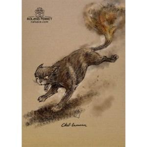 Dessin de chat en chamumeau par Roland Perret, jeu du Chat-llenge.