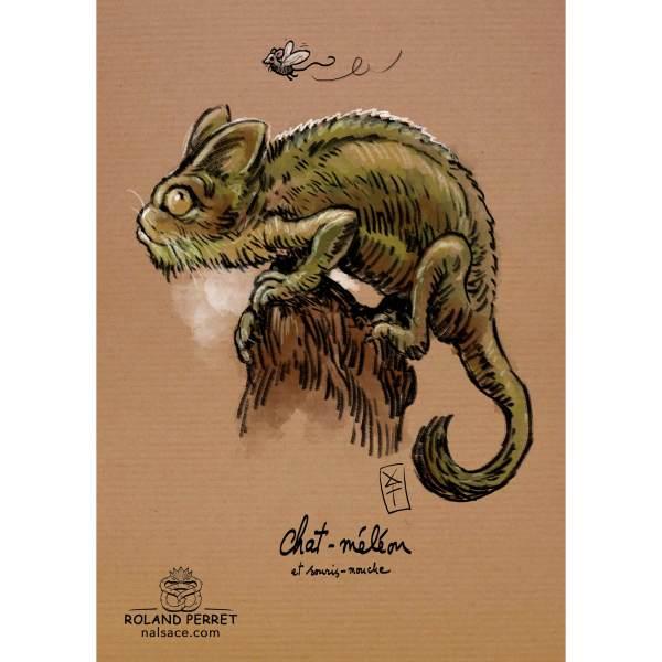 Dessin de chat en caméléon par Roland Perret, jeu du Chat-llenge. www.nalsace.com