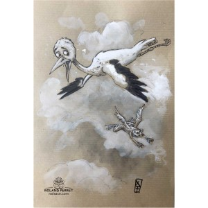 Cigogne et grenouille volante - dessin original sur papier kraft par Roland Perret - série des cigognes