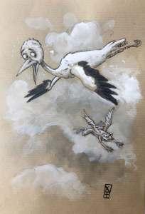 Cigogne et grenouille volante