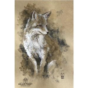 Renard assis - dessin original sur papier kraft par Roland Perret - série des renards
