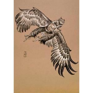 Aigle chevauché par un chat - dessin original sur papier kraft par Roland Perret - série des rapaces. nalsace.com