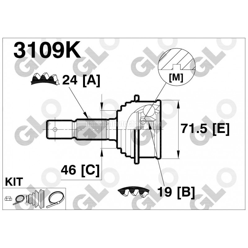 Външно каре 4340087728 3109K Daihatsu полуоска