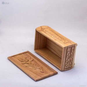 NA-hand-carved-rectangular-wooden-box-with-flower-pattern