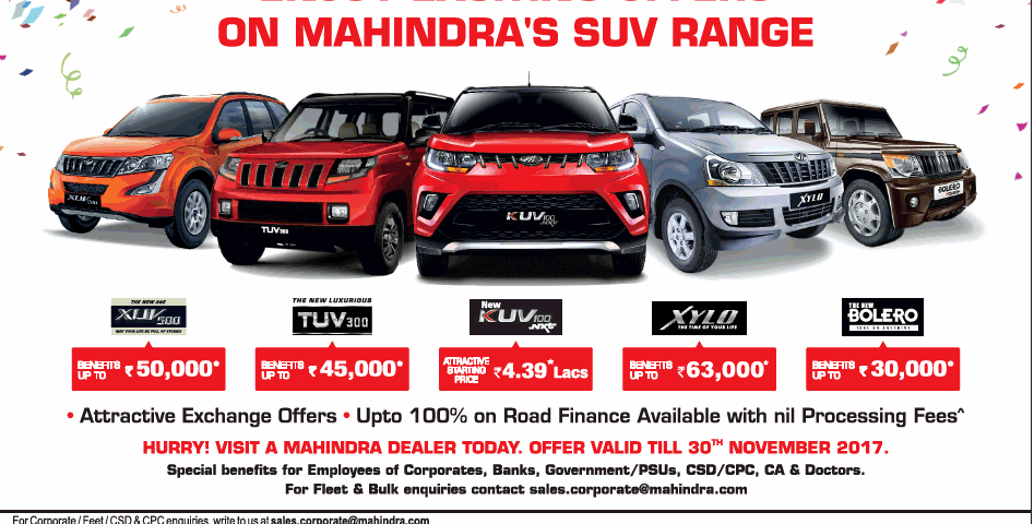 Exciting Offers On Mahindra Xuv500 Tuv300 Kuv100 Xylo