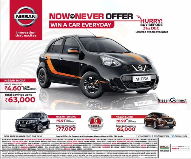 Nissan Now Or Never Offer Savings On Sunny Terrano And