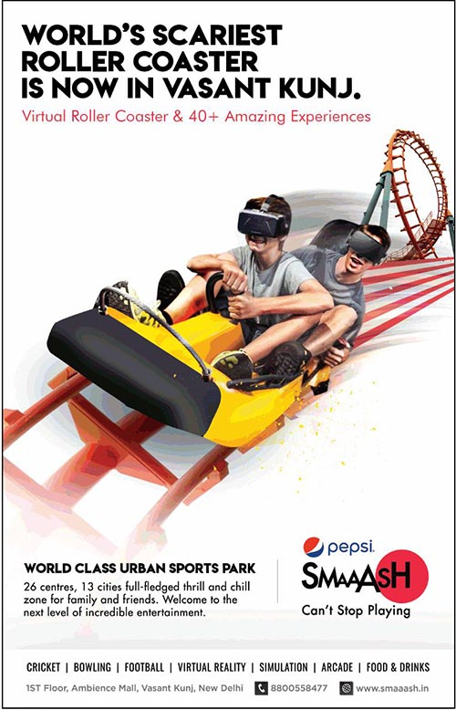 Worlds scariest virtual roller coaster is now in smaaash vasant worlds scariest roller coaster is now in pepsi smaaash the virtual roller coaster and 40 amazing experiences pepsi smaaash is located at 1st floor freerunsca Images
