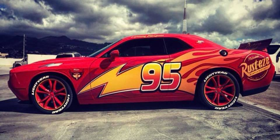 All Star Hyundai >> Dodge Challenger in Lightning McQueen wrap - Namaste Car