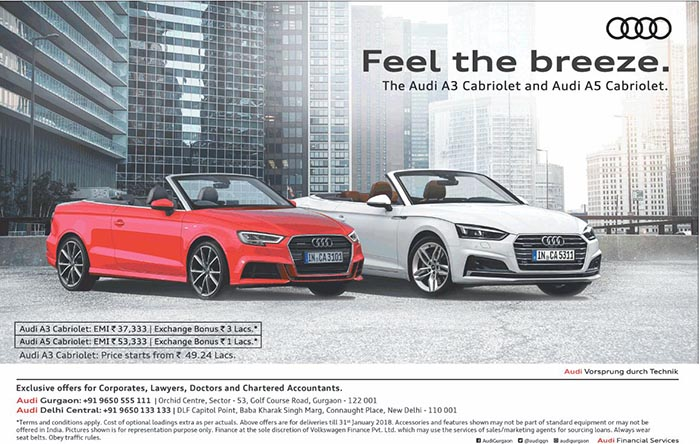Emi Of Rs 37333 On Audi A3 Cabriolet Rs 53333 On A5 Cabriolet