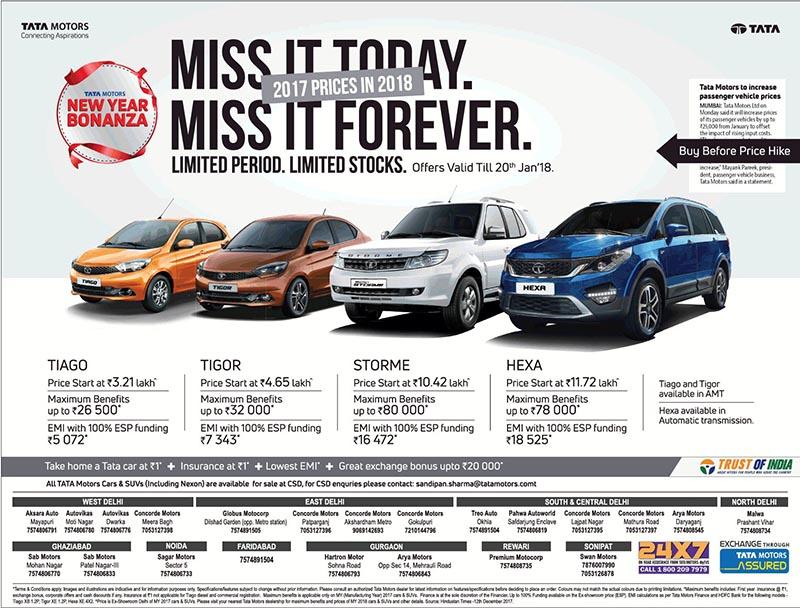 Tata motors new year bonanza 2017 car prices in 2018 till for Stock price of tata motors
