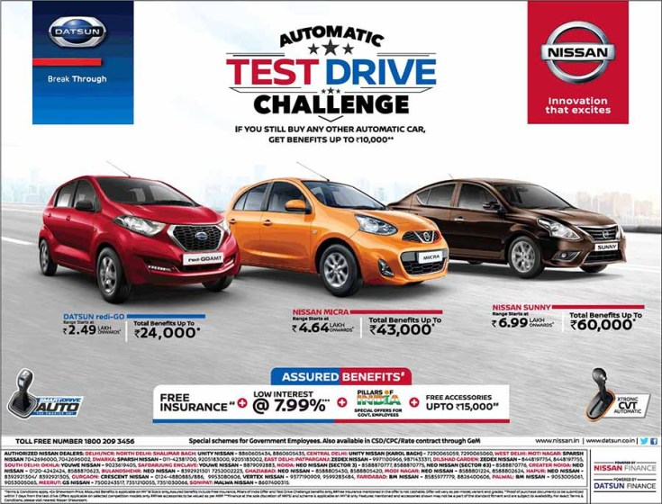 Get upto Rs. 10,000 benefits on Nissan Datsun Automatic ...