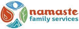 namaste family counseling word logo short image
