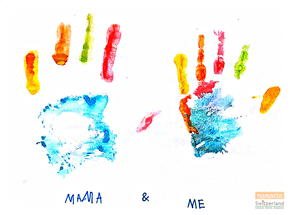 Colorful handprint painting