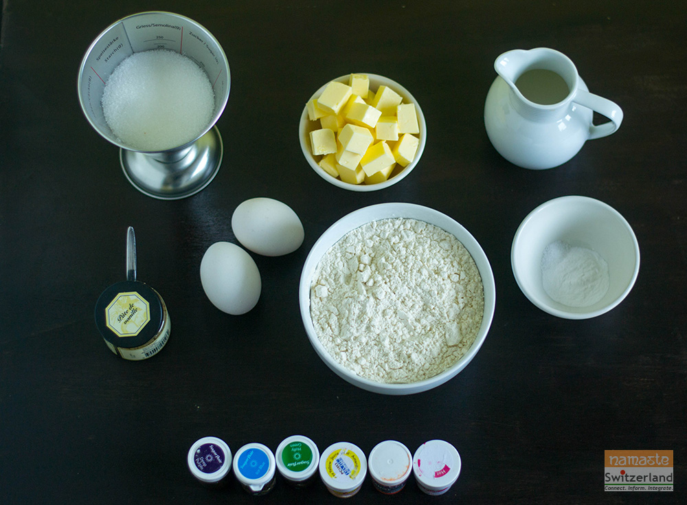 Ingredients for Rainbow cake