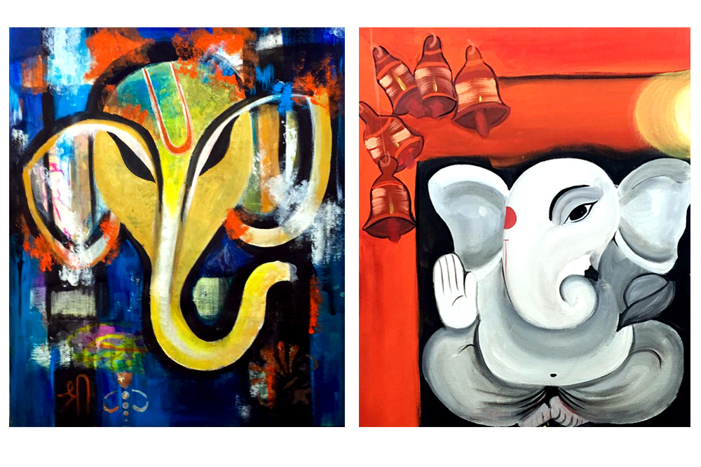 Paintings of Lord Ganesha by Rajani Battula