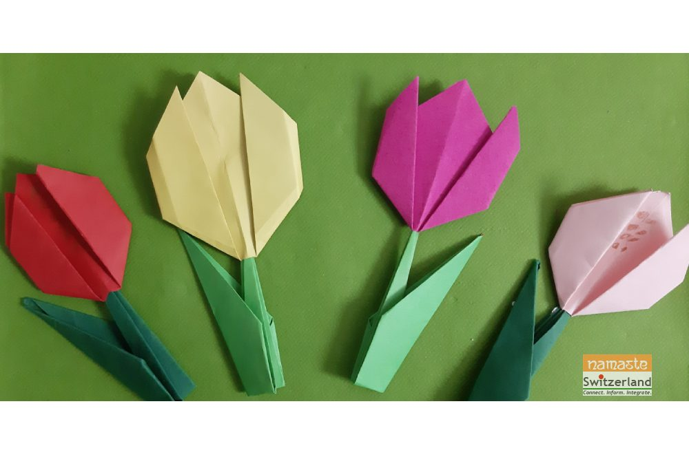 How to make Origami Tulips final step