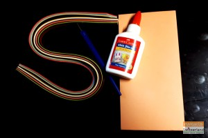 Photo of materials required for quilling