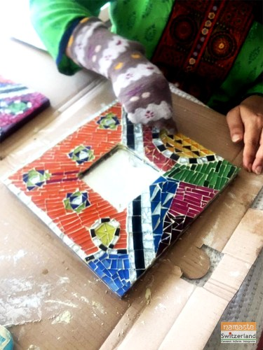 Photo of step 4 of mosaic art